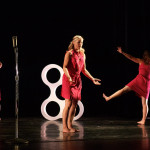 """Untitled; Center of the Universe"" at Blurred Borders International Dance Festival #13. May 2011. Choreographer: Alicia Peterson Baskel. Performers: Alicia Peterson Baskel, Christine Herde, Jennifer Oliver and Gina Bolles Sorensen. Sound Design: Omar Ramos. Photo: Manuel Rotenberg."